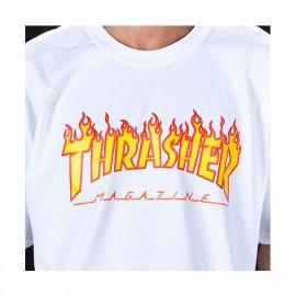 Camiseta Thrasher Flame Logo Tee White