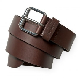 Cinturon Carhartt Script Belt  Leather Dark Brown / Silver