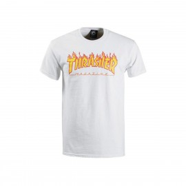 Camiseta Thrasher Flame Logo Tee White